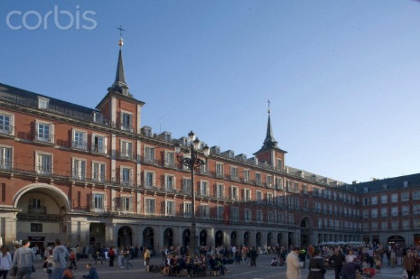 A busy Plaza Mayor, Madrid, Spain.